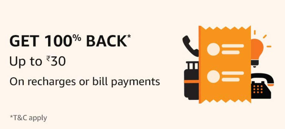 Amazon Pay Offer - 100% Back Up To Rs.30 On Bills