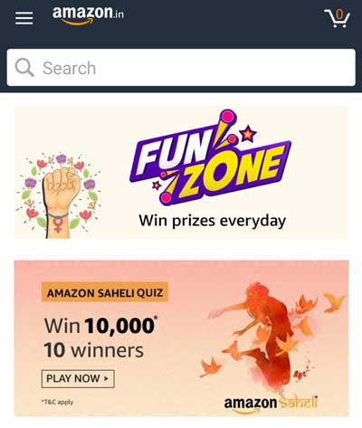 Find the Amazon Saheli Quiz from the list of Amazon Quiz Banners