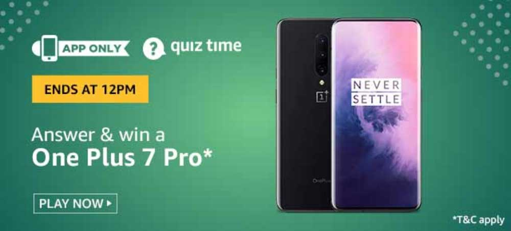 Amazon Daily Quiz Answers [17 Nov 2019] - Win OnePlus 7 Pro