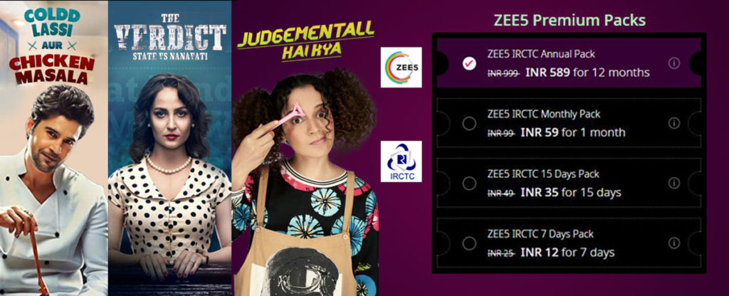 IRCTC ZEE5 Offer - Up To 50% Off On Premium Packs