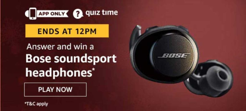 Amazon Quiz Answers [31 Dec 2019] - Win Bose Soundsport Headphones