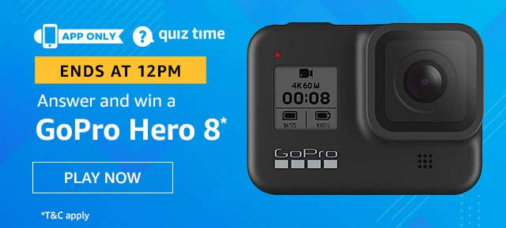 Amazon Quiz Answers [13 Dec 2019] - Win GoPro Hero 8