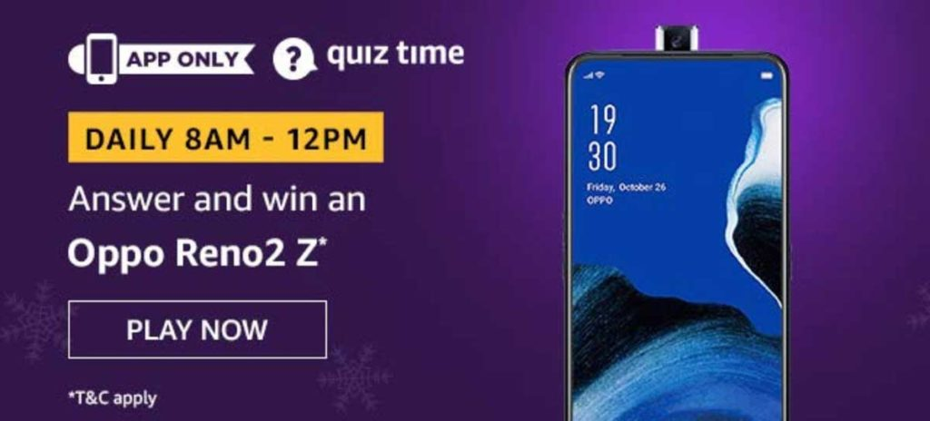 Amazon Daily Quiz Answers - Win Oppo Reno2 Z