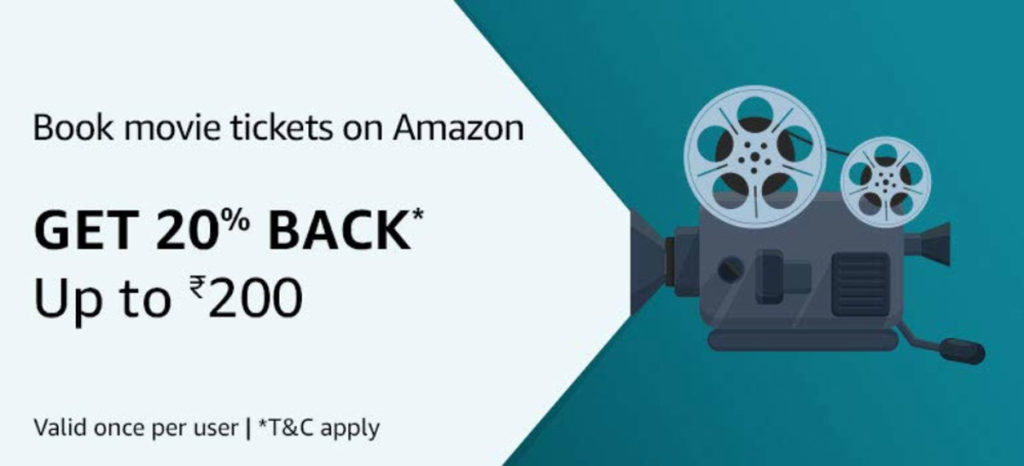 Amazon Movie Tickets Offer - 20% Back Up To ₹200