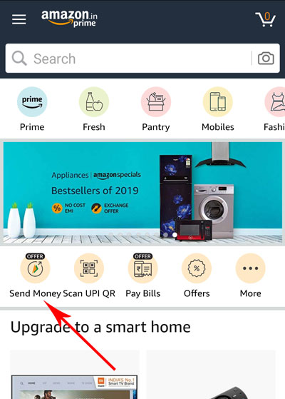Tap on the SEND MONEY icon from Amazon app home page