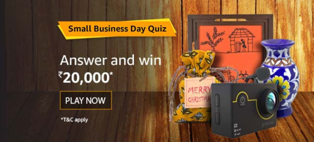 Amazon Small Business Day Quiz Answers - Win Rs.20,000 [Till 20 Dec 2019]