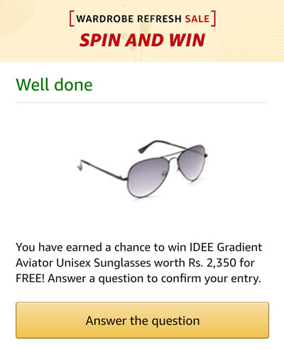 Claim your prize by answering the question