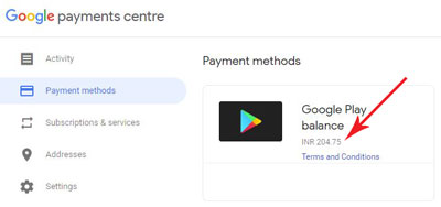 Navigate to Google Payment Center to view your Google Play credit balance