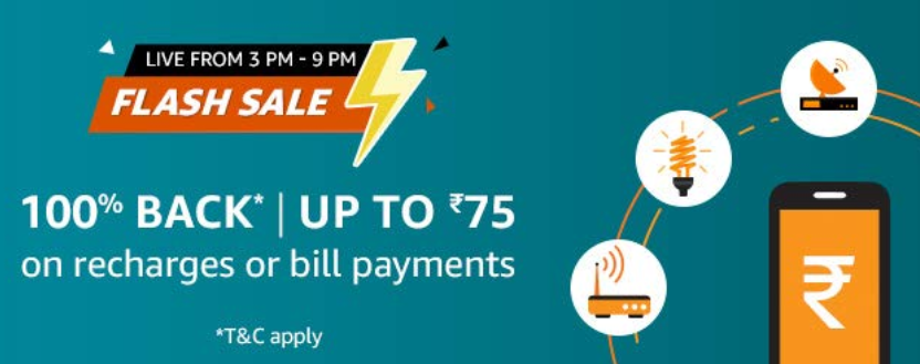 Amazon Pay Flash Sale Offer - Rs.75 On Bills [16 Dec 3PM To 9PM]