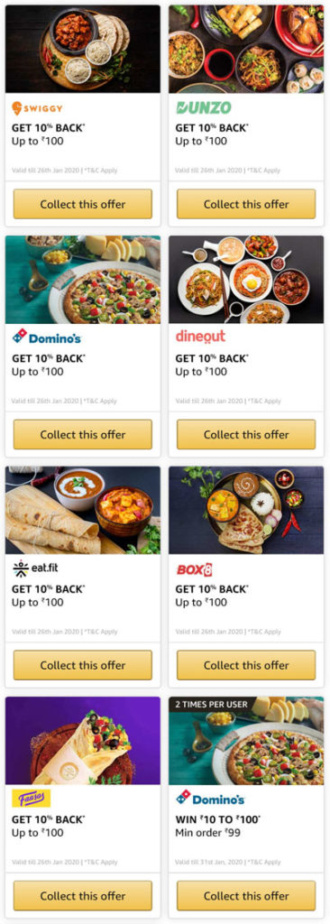 Amazon Food Bonanza Offers on Swiggy, Domino's, Faasos, Eatfit, Box8, Dineout and Dunzo