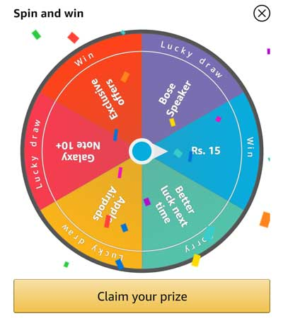 Spin the wheel for prize and Claim your Prize
