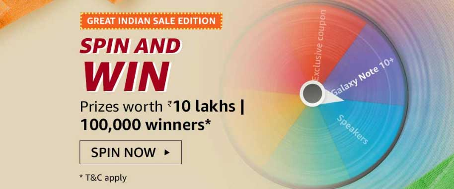 Amazon Great Indian Sale Spin And Win - 100,000 Winners (17-18 Jan 2020)