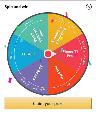 Spin the wheel for prize