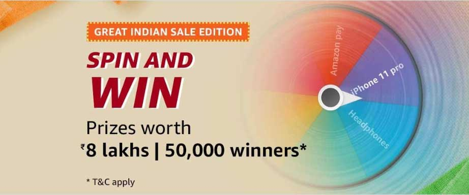 Amazon Great Indian Sale Spin And Win - 50,000 Winners (15 Jan 2020)