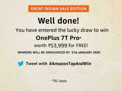Amazon Tap And Win - Over Rs.12 Lakhs (10 Oct 2019)