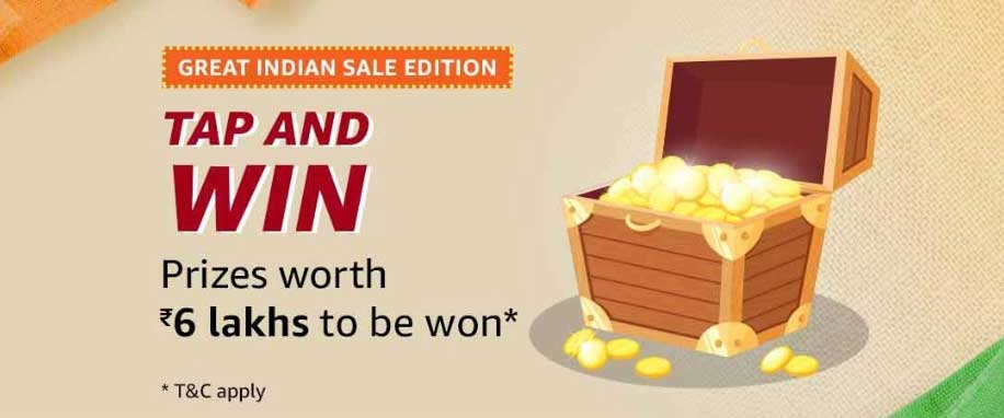 Amazon Tap And Win - Great Indian Sale Edition - Over Rs.6 Lakhs (16 Jan 2020)