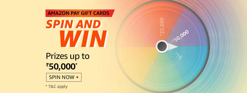 Amazon Pay Gift Cards Spin And Win - Prizes Up To Rs.50,000 (Till 29 Feb 2020)