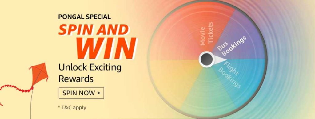 Amazon Pongal Spin And Win -Amazon Pay Offers (11-25 Jan 2020)