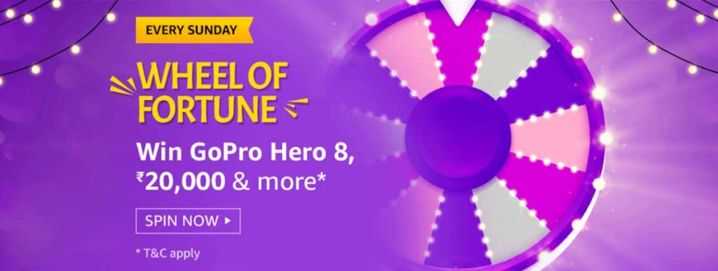 Amazon Wheel Of Fortune Spin And Win - GoPro Hero 8 (19 Jan 2020)