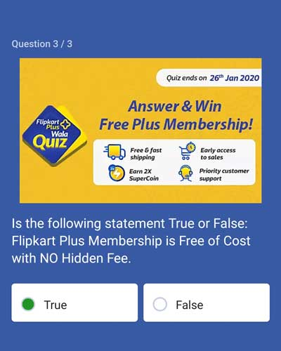 Flipkart Answer And Win - Free Plus Membership - [Till 26 Jan 2020] - Question 3