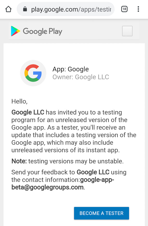 Signing up for Google Play Store Beta Tester program