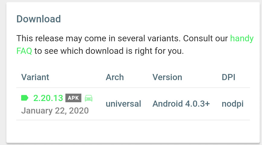 Scroll down to see the download link for WhatsApp Messenger Beta v2.20.13