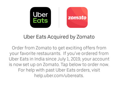 Uber Eats accuired by Zomato