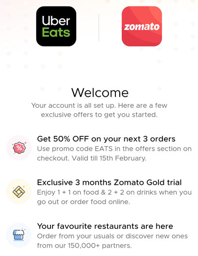 Uber Eats accuired by Zomato - Offer Details