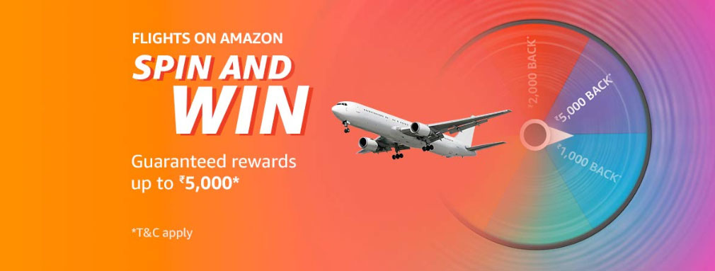 Flights On Amazon Spin And Win - Up To ₹6000 CB Coupons