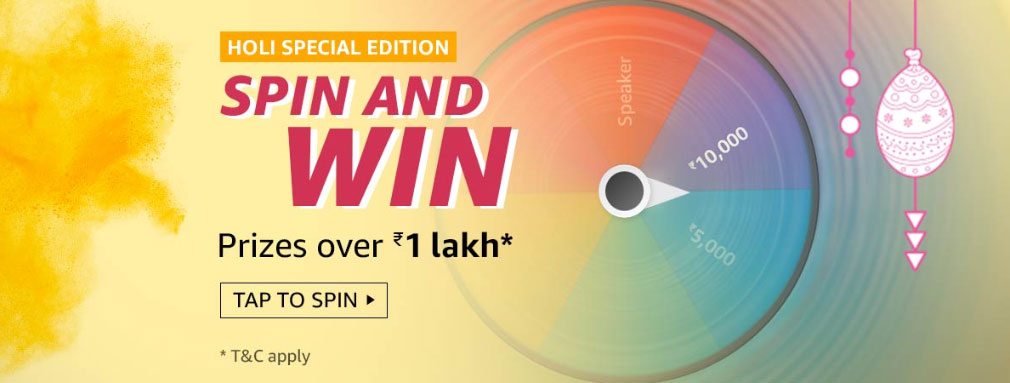 Holi Special Edition Spin And Win - Up To ₹10,000