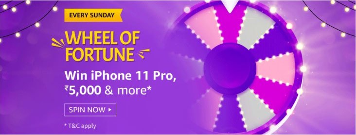 Amazon Wheel Of Fortune Spin And Win - iPhone 11 Pro (2 Feb 2020)
