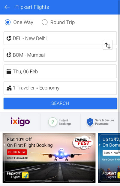 Choose your travel options and search flights