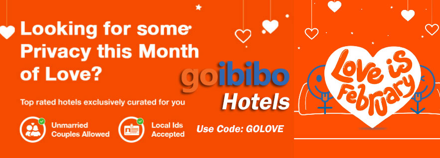 Goibibo's Couple Friendly Hotels - Use Code GOLOVE and get Flat 25% Instant Off