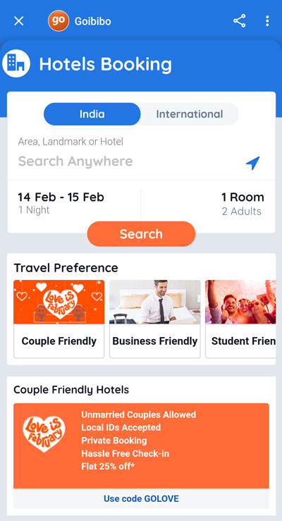 Fill in your booking criteria and the hotels