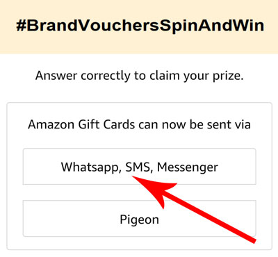 Answer for Amazon Gift Cards voucher