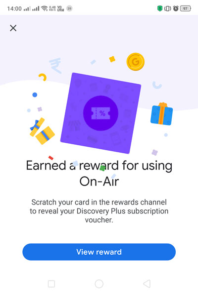 Discovery Plus On-Air Google Pay Ad - You'll be treated with offer details