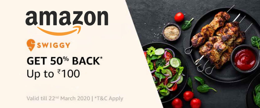 Amazon Swiggy Offer - Get 50% Up To ₹100 CB