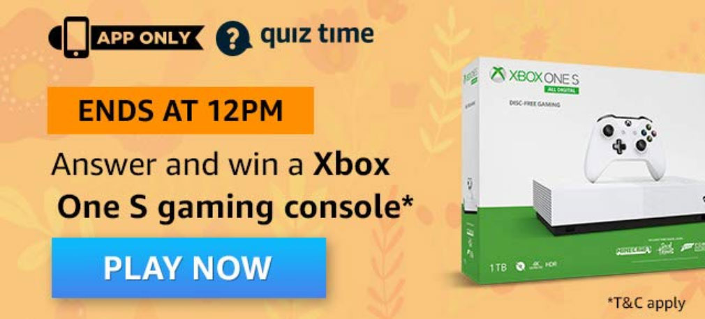 Amazon Quiz Answers - Win XBOX One S Gaming Console