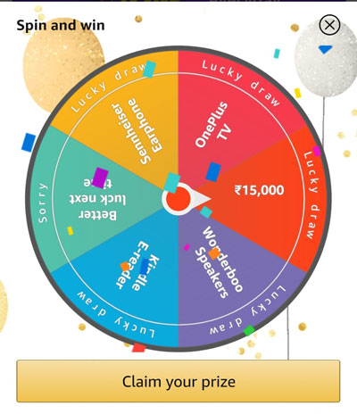 Claim your Prize like OnePlus TV, Sennheiser Earphones, Amazon Kindle E-Reader, Woonderboo Speakers or Rs.15,000
