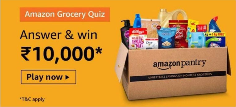 Amazon Pantry Grocery Quiz Answers - Win Rs.10,000