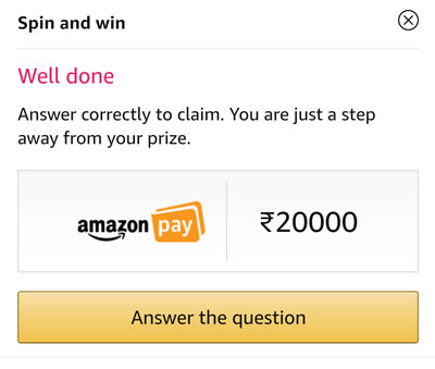 Answer a question and claim your Amazon Pay Balance.
