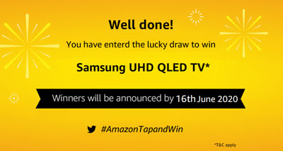 Claim your Samsung UHD QLED TV or other prizes after the contest period.