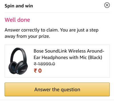 Claim your Bose Headphones or other prizes by answering a question