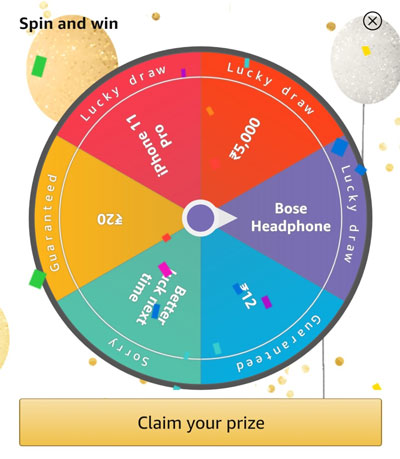 Spin the fortune wheel to win Bose Headphones, iPhone 11 Pro or other prizes