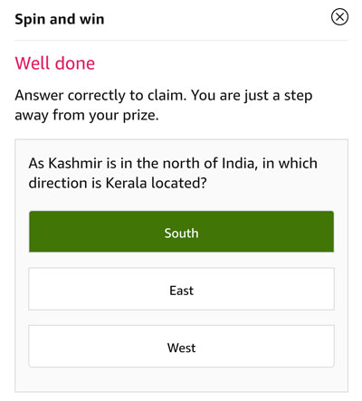 Tap on the correct answer to be eligible - Kerala is located at South part of India
