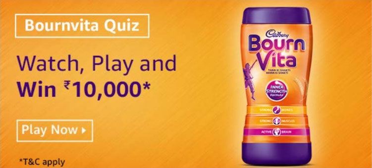 Amazon Bournvita Quiz Answers - Win Rs.10,000