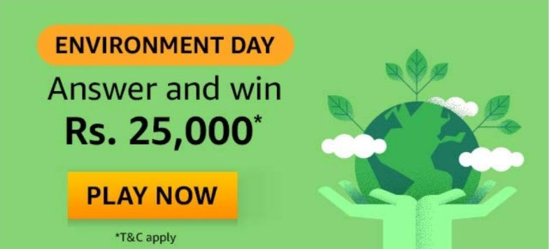 Amazon Environment Day Quiz Answers - Win Rs.25,000
