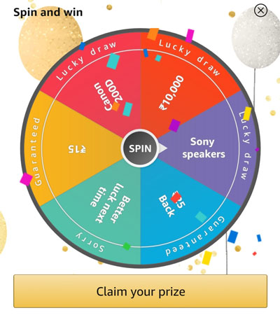 Spin the fortune wheel win Sony Bluetooth Speaker or other prizes.