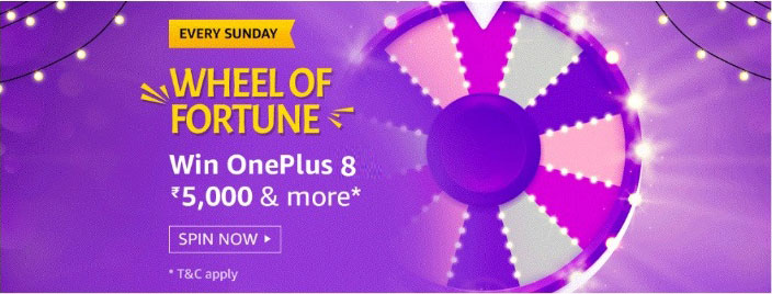 Amazon Wheel Of Fortune Spin And Win - OnePlus 8 And More