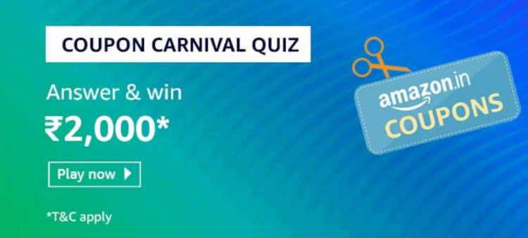 Amazon Coupon Carnival Quiz Answers - Win Rs.2,000